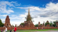Timelapse old temple Wat Phra Mahathat of Ayutthaya province