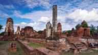 Timelapse old temple Wat Phra Mahathat of Ayutthaya