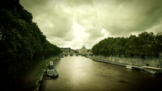 Timelapse on Tiber River and Saint Peter Basilica, Rome