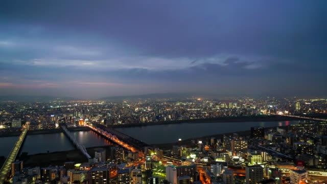 timelapse Skyline van de stad Osaka