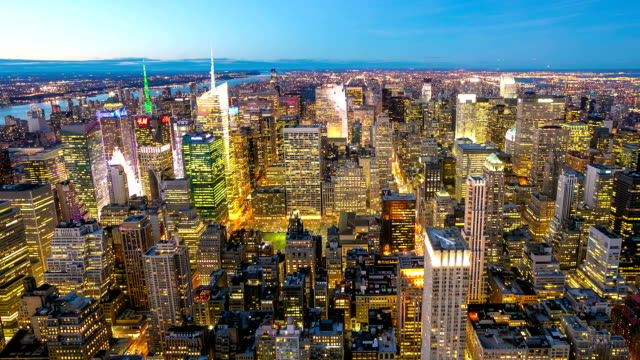 HD Time-lapse Paning: New York City Skyline aerial view
