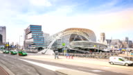 HD time-lapse panning: Rotterdam Downtown and market hall Netherlands