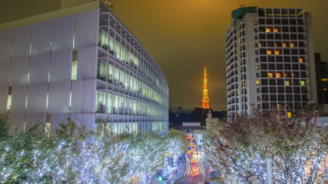 4K Timelapse Panning : Tokyo Tower and Christmas illuminations in Roppongi Tokyo , Japan