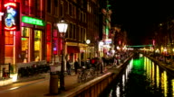 HD Time-lapse panning: Tourist Amsterdam Red Light District night