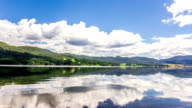 Timelapse panning view beautiful Mountain Lake with blue sky cloudscape
