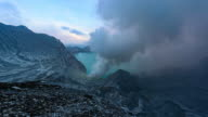 Timelapse. Panoramic views of the the sulfur fumes in the crater of an active volcano Ijen. East Java, Indonesia