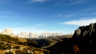 Timelapse passo Gardena in Dolomites alps, Italy