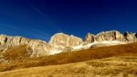 Timelapse passo Sella in Dolomites alps, Italy