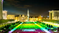 HD Time-lapse: Pedestrian at Brussels Grand Place garden Belgium sunset