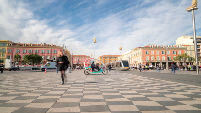 Time-lapse: Pedestrian at place massena, Nice downtown France