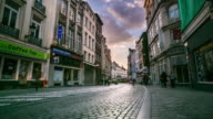 Time-lapse: Pedestrian at shopping street grand place Brussels