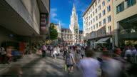 Time-lapse: Pedestrian crowded at Central Square Marienplatz, Munich, Germany