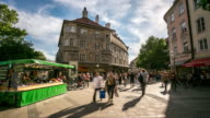 4K Time-lapse: Pedestrian crowded at farmer market square, Munich, Germany