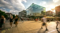 4K Time-lapse: Pedestrian crowded at New palace Square Stuttgart Germany