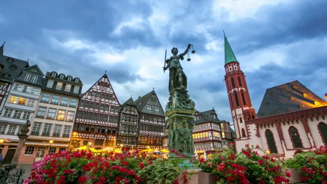 4K Time-lapse: Pedestrian crowded at Romerberg Town square Frankfurt Germany
