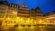 4K Time-lapse: Pedestrian crowded at Romerberg Town square Frankfurt Germany