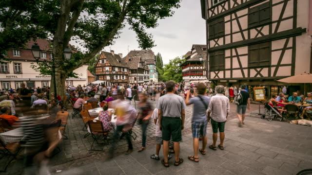 4K Time-lapse: Pedestrian crowded La Petite Square Strasbourg France