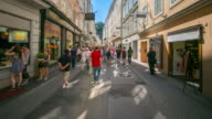 4K Time-lapse: Pedestrian crowded Salzburg Cityscape city square Austria