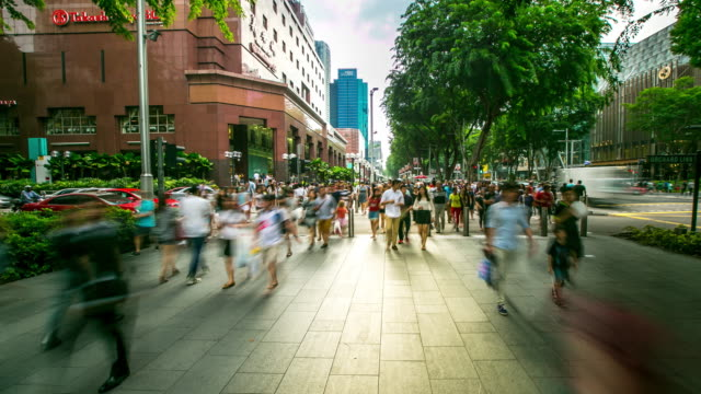 4K Time-lapse: Pedestrian crowed at sidewalk of Orchard Singapore