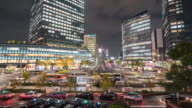 Time-lapse: Pedestrians at Nagoya Central Station at night Chubu Japan