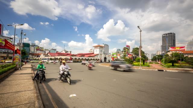 4 K Time-lapse: voetgangers ben thanh markt Ho Chi Minh Viatnam