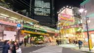 Time-lapse: Pedestrians crowded at Shimbashi hangout district Tokyo Japan