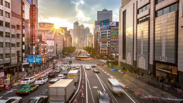 4 K Time-lapse: voetgangers druk bij Shinjuku station Tokio zonsondergang