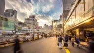 4K Time-lapse: Pedestrians crowded at Shinjuku station Tokyo