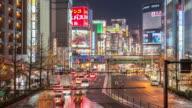 Time-lapse: Pedestrians crowded at Shinjuku Tokyo night