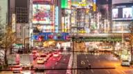 HD Time-lapse: Pedestrians crowded at Shinjuku Tokyo night