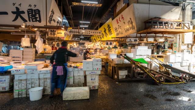 Time-lapse: Pedestrians crowded at Tsukiji Fish Market Tokyo Japan