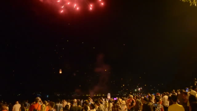 Timelapse people celebrate The New Year