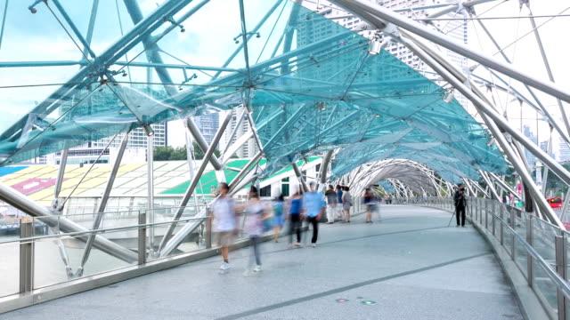 HD Time-lapse: People Crowd at Pedestrian bridge in Singapore