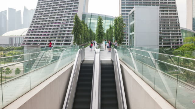 HD Time-lapse: People moving on escalator in shopping mall.