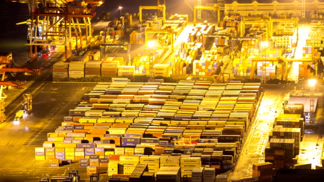 HD-Zeitraffer: Port Arbeiten Container Osaka