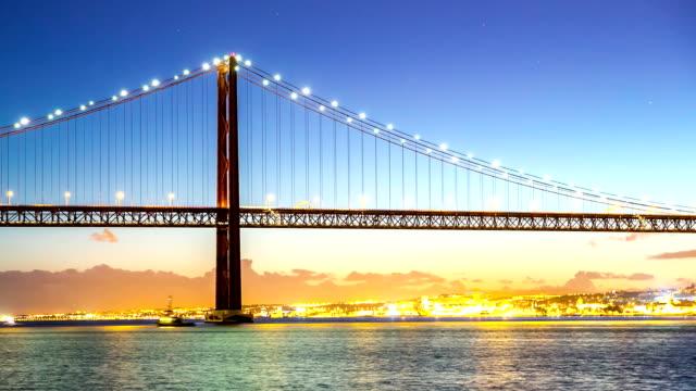 HD Timelapse: Porte 25 de Abril bridge Tagus river Lisbon