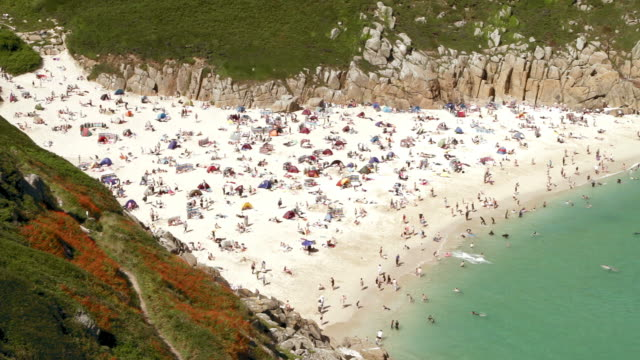 Timelapse Porthcurno beach very wide shot