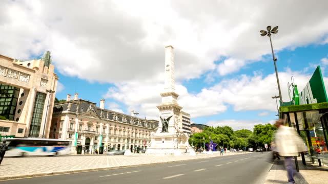 HD Time-lapse: Restauradores Square Lisbon Portugal