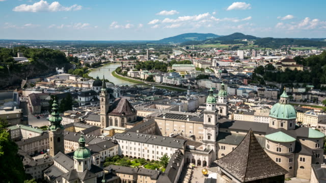 4K Time-lapse: Salzburg Cityscape along the river salzach Austria