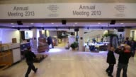 Timelapse sequence inside the main Congress Centre as preparations are made ahead of the 43rd World Economic Forum in Davos staff and workmen moving...