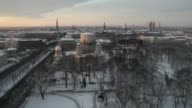 Timelapse sequence shows high angle view the Nativity of Christ cathedral stands surrounded by snow in Riga Latvia on Tuesday Dec 10 2013 Riga city...