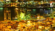 Time-Lapse shipping port cargo at singapore city