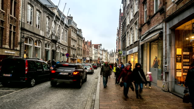 HD time-lapse: Shopping street Historic town at Bruges Belgium