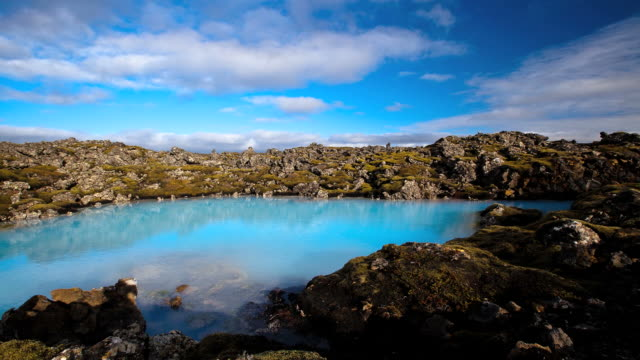 Timelapse shot from blue lagoon on Iceland