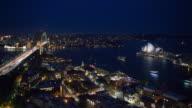 Timelapse shot of Sydney harbour at night