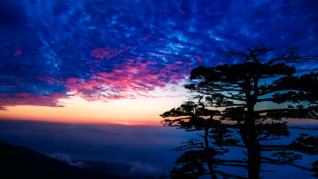 Time-Lapse shot of the view in early morning from Cheonwangbong (second highest peak in Mt Chirisan and it is famous for sunrise observation point)
