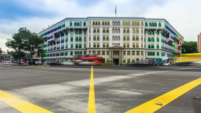 4K Timelapse : Singapore city center traffic at Old hill street police