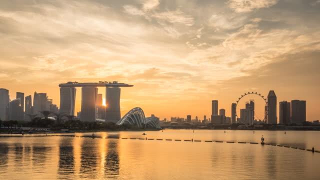 4K Time-lapse: Singapore Cityscape sunset at Dusk