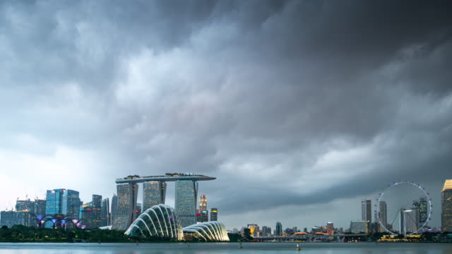 Timelapse singapore skyline city scape with strom
