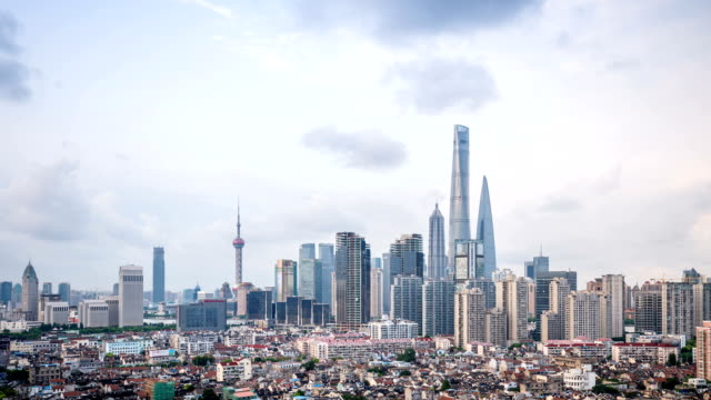 Timelapse skyline of Shanghai from day to night